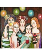 Tea Party Paintings - Pink Ladies by Shannon Nicole
