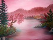 Waterscape Painting Posters - Pink Lake Poster by Emily Michaud