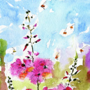Bees Paintings - Pink Lavatera Floral Painting 1  by Ginette Fine Art LLC Ginette Callaway