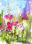 Bees Paintings - Pink Lavatera Watercolor Painting by Ginette by Ginette Fine Art LLC Ginette Callaway