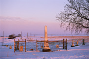 Winter Scenes Rural Scenes Prints - Pink Light In A Rural Cemetery, Snow Print by Joel Sartore