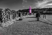 Lobster Pots Prints - Pink Lighthouse of St Ives Print by Rob Hawkins