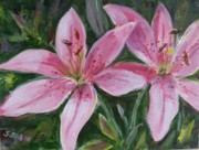Print On Acrylic Prints - Pink lilies Print by Saga Sabin
