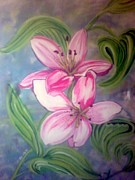 Gladiola Paintings - Pink Lillies by Crystal Dearth-Lorton