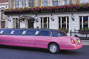 Limo Posters - Pink Limo Outside a Pub Poster by Jeremy Woodhouse