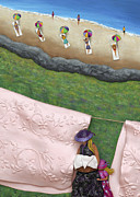 Beach Themed Art Posters - Pink Linen- CROP-To See Full Image Click View All Poster by Anne Klar
