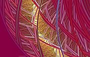 Fractal Mixed Media - Pink Lines by Deborah Benoit