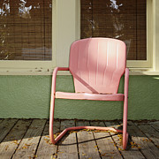 Front Porch Prints - Pink Metal Chair on a Porch Print by Skip Nall
