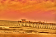 Atlantic Beaches Prints - Pink Morn Pier Print by Emily Stauring
