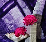 Backboard Prints - Pink Mums on Purple Print by Marsha Heiken