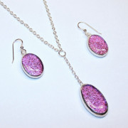 Handcrafted Jewelry - Pink Oval Dangle by Kelly DuPrat
