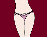 Whimsical Drawings - Pink Panties by Frank Tschakert