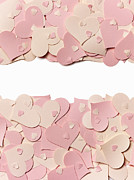 Colored Background Art - Pink Paper Hearts On A White Background by Sally Williams Photography