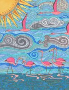 Flamingo Drawings - Pink Party by Pamela Schiermeyer