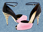 Stilettos Paintings - Pink Patent Leather with Sculpted Metal Heels by Elaine Plesser
