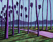 Santa Barbara Paintings - Pink Path Through the Purple Palms by Anne West