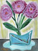Primitive Drawings - Pink Peonies-Gray Table by Mary Carol Williams