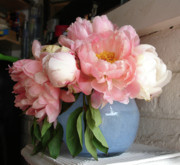 Pink Flowers Pyrography - Pink Peonies in blue vase by Grace Matthews