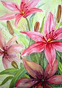 Watercolors By Jo - Pink Pixie Lilies by Joanne Smoley