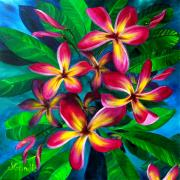 Plumeria Paintings - Pink Plumeria by Jerri Grindle