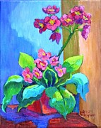 Primroses Paintings - Pink Primroses by Patricia Musgrave