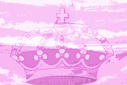 Juvenile Wall Decor Mixed Media Metal Prints - Pink Princess Crown Art Metal Print by ArtyZen Kids