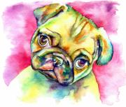 Fawn Pug Paintings - Pink Pug by Christy  Freeman