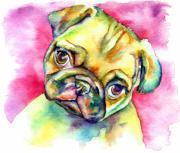 Pink Pug Print by Christy  Freeman