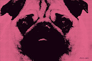 Pug Digital Art Posters - Pink Pug Poster by Jayne Logan