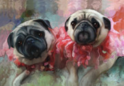 Puppies Digital Art Prints - Pink Pug Princesses On Parade Print by Elizabeth Murphy