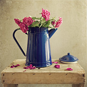 Rose Photography Posters - Pink Roses And Blue Jug Poster by Copyright Anna Nemoy(Xaomena)