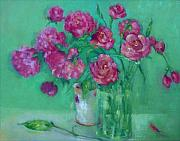 Invitations Paintings - Pink Roses and Peonies         copyrighted by Kathleen Hoekstra