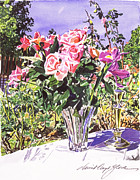 Popular Paintings - Pink Roses in Crystal Vase by David Lloyd Glover