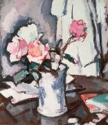 Vase Table Framed Prints - Pink Roses Framed Print by Samuel John Peploe