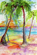 Tropical Sunset Painting Framed Prints - Pink Sands and Palms Island Dreams Watercolor Framed Print by Ginette Fine Art LLC Ginette Callaway