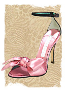 Stilettos Paintings - Pink Satin Ankle Straps on Safari by Elaine Plesser