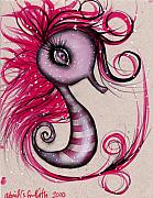 Sea Horse Posters - Pink Seahorse Poster by  Abril Andrade Griffith