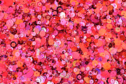 Sequin Metal Prints - Pink Sequins Of Various Shapes And Sizes Metal Print by Andrew Paterson