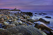 Montauk Photos - Pink skies at Montauk Point by Rick Berk