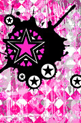 Star Digital Art Posters - Pink Star 1 of 6 Poster by Roseanne Jones