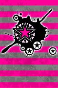 Star Digital Art Posters - Pink Star 4 of 6 Poster by Roseanne Jones
