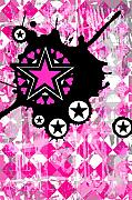 Decorative Abstract Digital Art Prints - Pink Star Splatter Print by Roseanne Jones