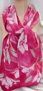 Silk Scarf Tapestries - Textiles Originals - Pink Stargaze Lily Silk Crepe Scarf by Morgan Silk