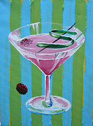 Wayne Thiebaud Framed Prints - Pink Stripe Martini Framed Print by Michael Baum