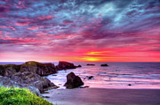 Pink Sunset Bandon Oregon Print by Connie Cooper-Edwards