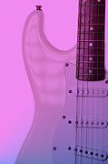 Guitar Art Prints Prints - Pink to Blue Electricd Guitar Print by M K  Miller