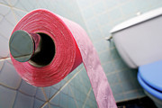Toilet Roll Holder Posters - Pink toilet roll on holder in bathroom Poster by Sami Sarkis