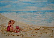 Sand Castles Painting Metal Prints - Pink Too Too Beach Fun Metal Print by Leslie Allen