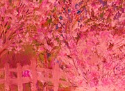 Pink Tree And Fence Print by Anne-Elizabeth Whiteway
