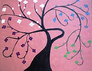 Tree Blossoms Paintings - Pink tree by Dawn Plyler